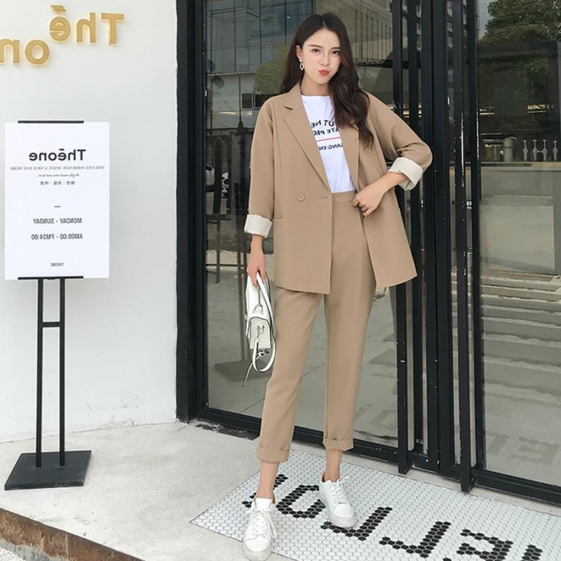 Women S Two Piece Suit 2021 Office Suit Korean Slim Oversized Long Sleeved Jacket Blazer Elegant Office Ladies Trouser Suits Set Pant Suits Aliexpress