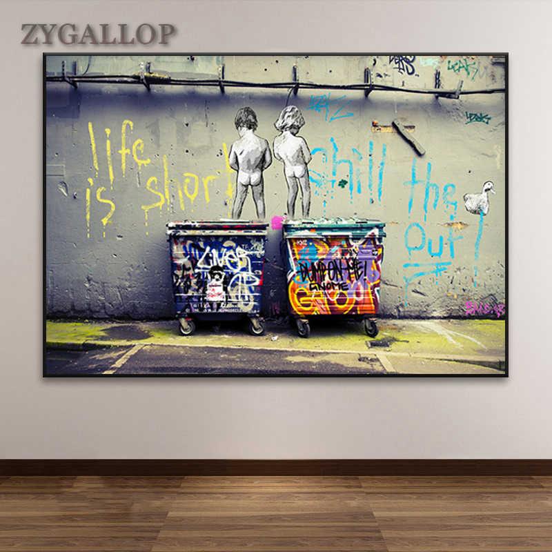 Graffiti arte abstrata pintura em tela banksy-posters e impressões duas crianças graffiti quadros de parede bar casa decoração fotos
