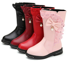 Winter new black Kids Boots Girls Boots Children High Bow Ti