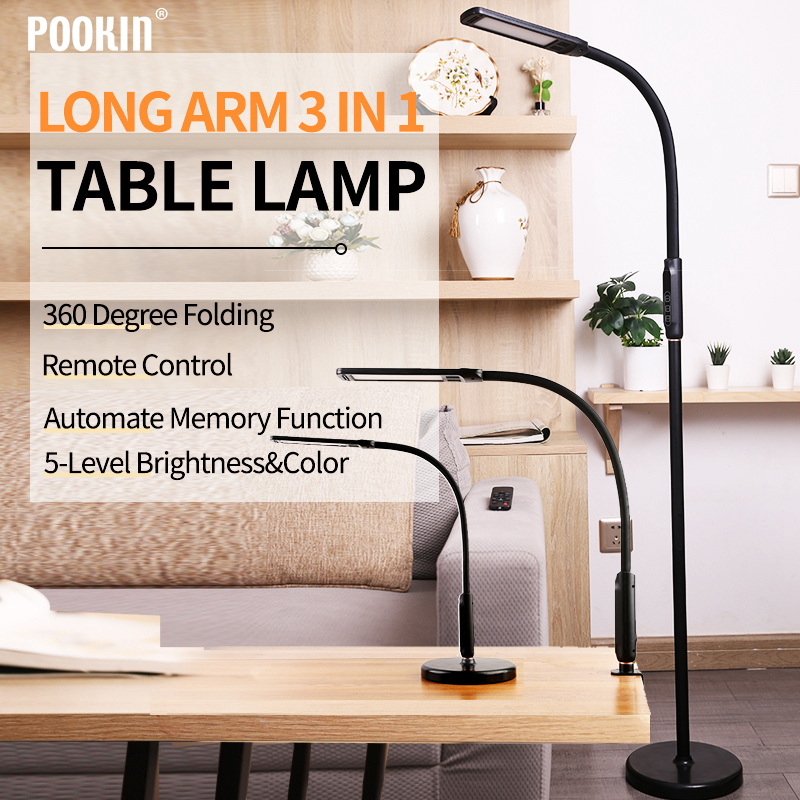 LED 3 In 1 Clip-on Lamp Floor Lamp Desk Lamp With Remote Control Dimming Gooseneck Pole Folding Lamp For Bed Living Room Office