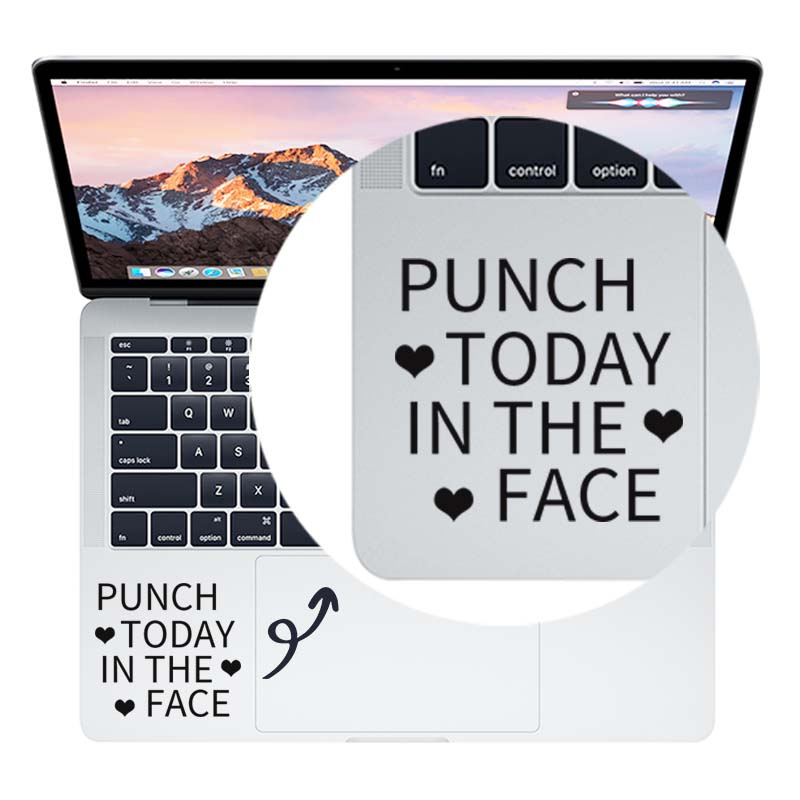 Punch Today in Face Trackpad Quote Laptop Sticker for Macbook Pro Air Retina 11 12 13 14 15 inch Vinyl Mac Book Touchpad Decal image