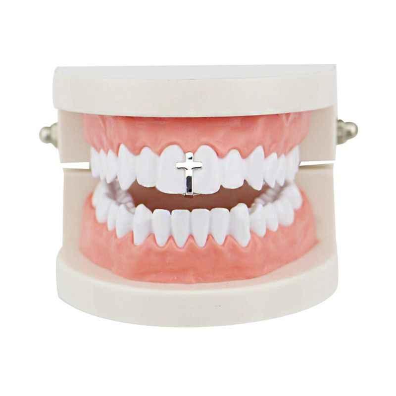 Single Tooth Rock Rapper Cross Grills Tooth Cap Teeth Decor Hip Hop Body Jewelry