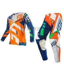 2019 Troy Fox MX 360 ensemble de vitesse de séparation Motocross ATV vélo de saleté tout-terrain course équipement pantalon et maillot Combo Orange
