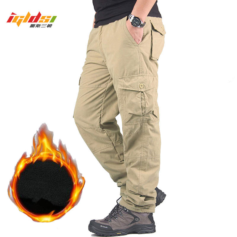 Men's Winter Thicken Fleece Cargo Pants Double Layer Straight Pants Men Casual Cotton Military Tactical Baggy Pant Warm Trousers