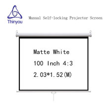Thinyou 100inch 4:3 Matte White Manual self-locking Projector Screen Wall Mount Pull Down pantalla proyeccion  For Cinema Office