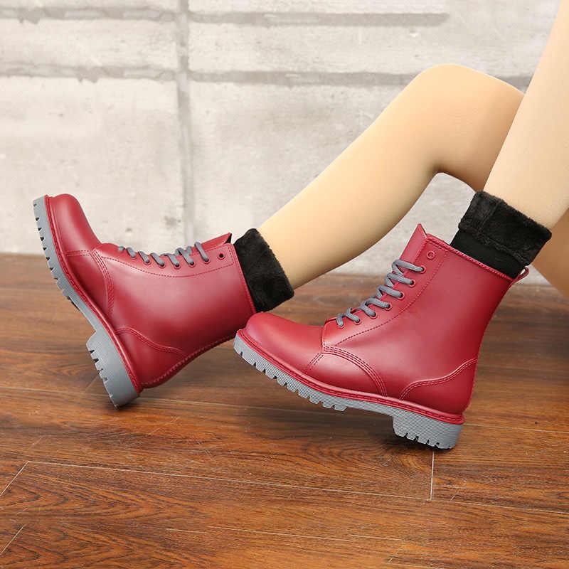 Kadın Rainboots Su Geçirmez Çamur su ayakkabısı Kadın Kauçuk Lace Up PVC yarım çizmeler Bayanlar Moda Motosiklet Yağmur Botas SH09091