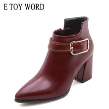 E TOY WORD women boots autumn winter Plus Size shoes 40-43 Martin Pointed buckle high heels ankle for