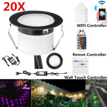 20X Black 45mm 12V RGBW Terrace LED Deck Stair Soffit UP/Down Step Lights Waterprrof WIFI Bluetooth Mesh Controller Timer Dimmer