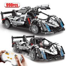 Miasto techniczne RC Super samochód sportowy MOC klocki zdalnie sterowany samochód wyścigowy Model pojazdu cegły prezenty zabawki dla dzieci