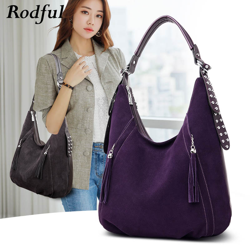 Fashion Large Tote Shoulder Bag Women Suede Nubuck Leather Handbags Women Autumn Winter Hobo Hand Bag Ladies Black Gray Purple