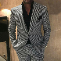 Plaid Men Suits for Wedding 2 piece houndstooth Checkered Groom Tuxedos Male Fashion Clothes 2020 Costumes Set Blazer with Pants