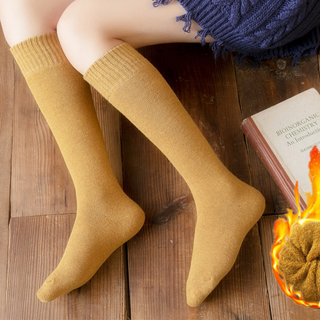 Women Girl Over Knee High Socks Spring Autumn Winter Warm Solid  Soft Thigh High Long Socks Solid Color Loose Stockings @7