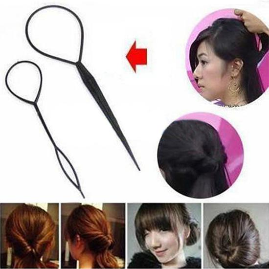 2Pcs Women Girl Topsy Tail Hair Braided Tool Ponytail Maker Easy Styling Tool image