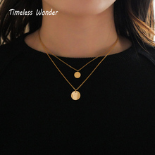 Timeless Wonder Trendy Titanium Round Coin Layered Choker Necklace Punk Chains Stainless Steel Jewelry Ins Tassel Boho Pop 5535 все цены