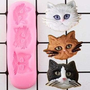 3D cabeza de gato adorable molde de silicona DIY para hornear galletas Chocolate caramelo arcilla moldes Cupcake adorno Fondant molde pastel herramientas de decoración