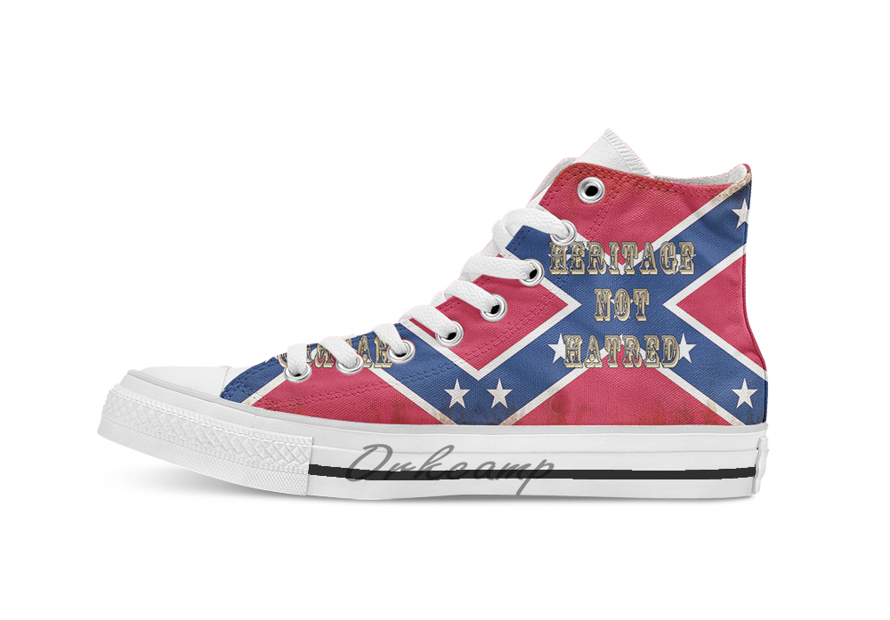 Heritage Not Hatred Confederate Flag  Breathable Casual High Top Lace-up Canvas Shoes Sneakers Drop Shipping