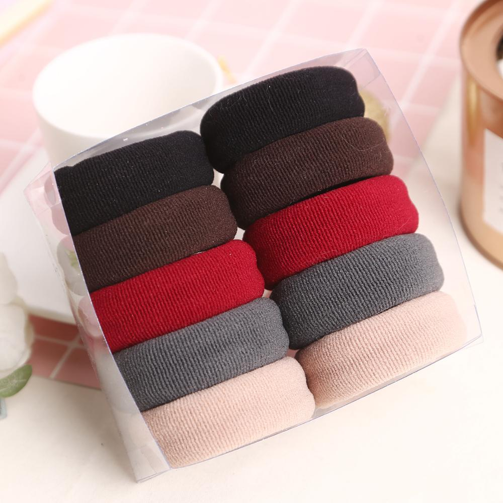 10Pcs Thick Scrunchies Solid Color Elastic Hair Rubber Bands Gum For Women Girls Ties Hair Ring Rope Ponytail Holder Accessories