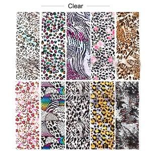 Image 4 - 10 adet leopar baskı tırnak kaplaması çıkartmalar Nail Art transferi folyo seti holografik tasarım yapıştırıcı sarar dekorasyon manikür TR2001 1
