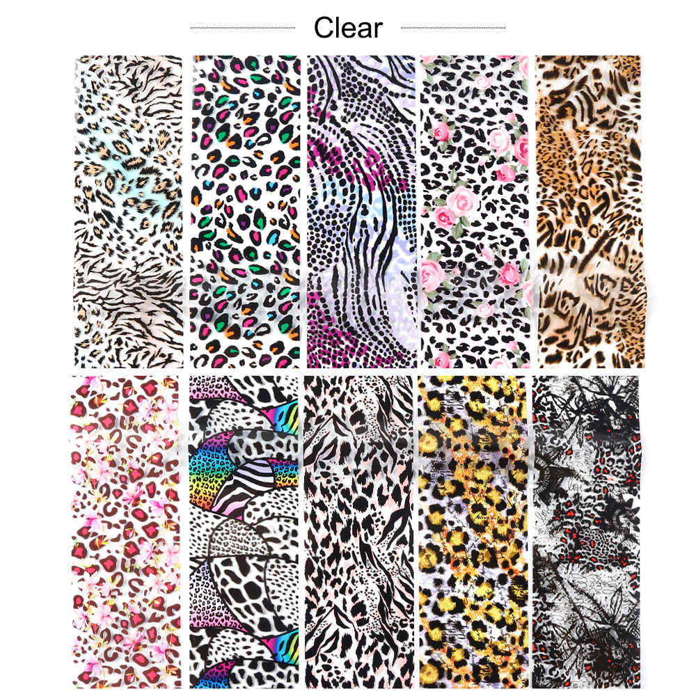 Image 5 - 10pcs Leopard Print Nail Foil Stickers Nail Art Transfer Foils Set Holographic Design Adhesive Wraps Decoration Manicure TR2001-in Stickers & Decals from Beauty & Health