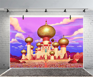 Image 4 - אלדין יסמין תמונה רקע וילון זהב מסגד שמח מסיבת יום הולדת נסיכת Vaiana קישוט צילום רקע באנר