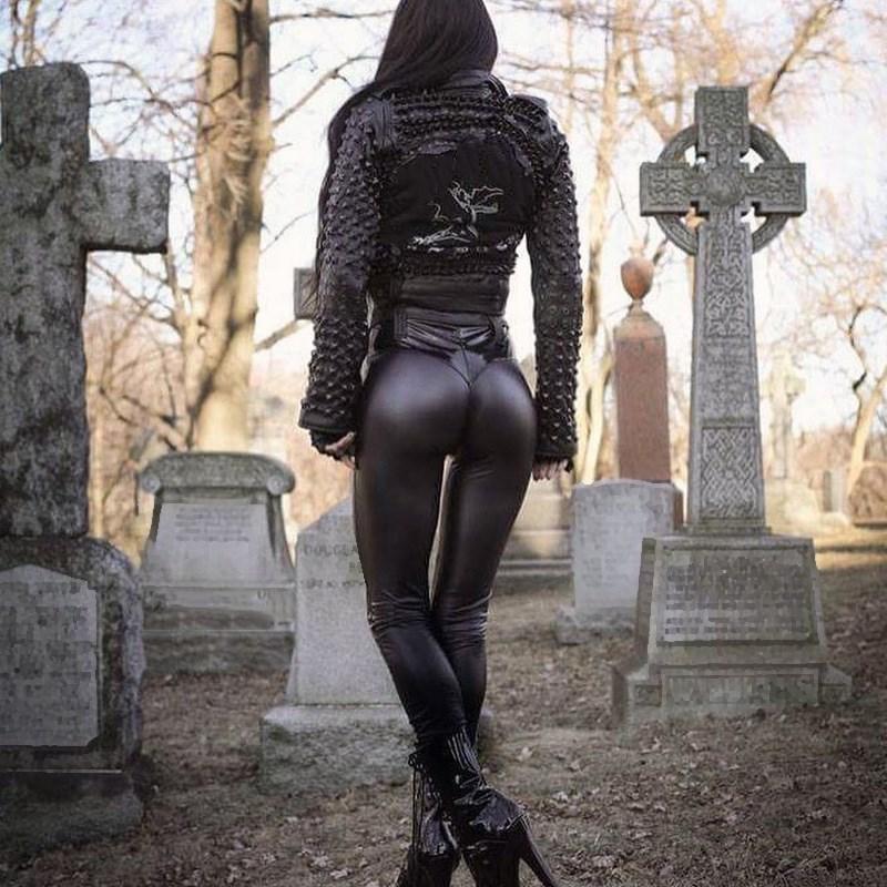 Fashion Leggings For Women Punk Faux Pu Leather Sexy Push Up Black High Waist Pants Solid Female Trousers Leggins