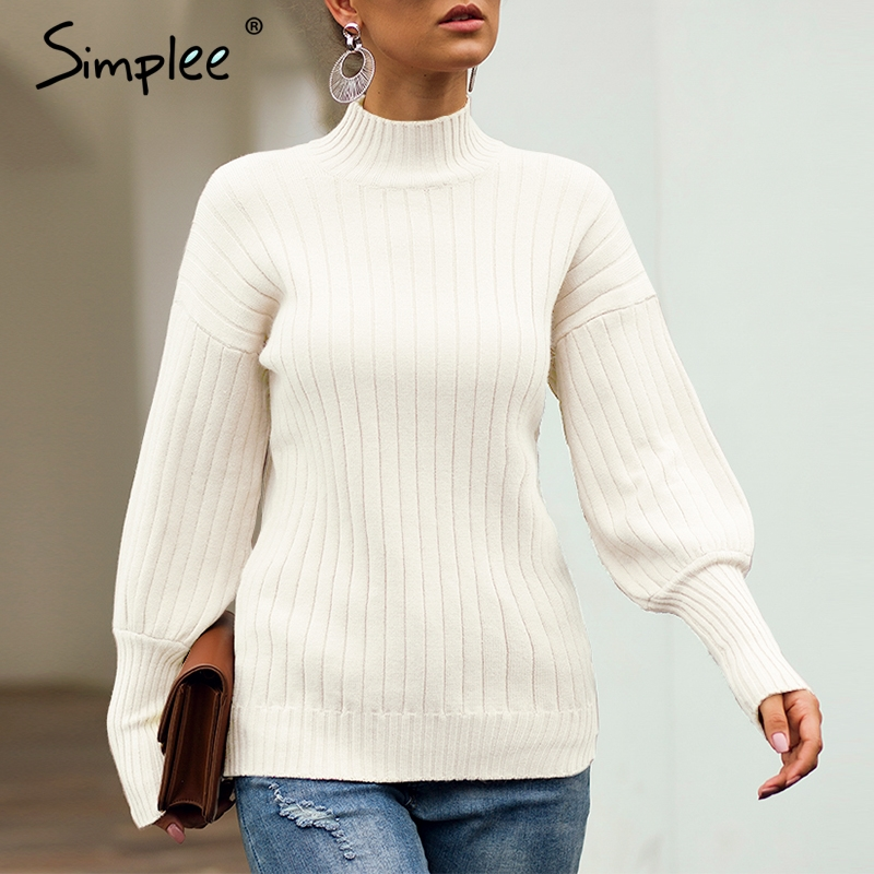 Simplee Turtleneck Yellow Women Knitted Pullover Sweater Autumn Winter Casual Female Jumper Lantern Long Sleeve Ladies Overalls