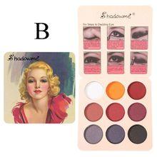 Paleta de sombra de ojos mate brillante de 9 colores Vintage pigmentada sombra de ojos polvo Mineral maquillaje cosmético impermeable de larga duración