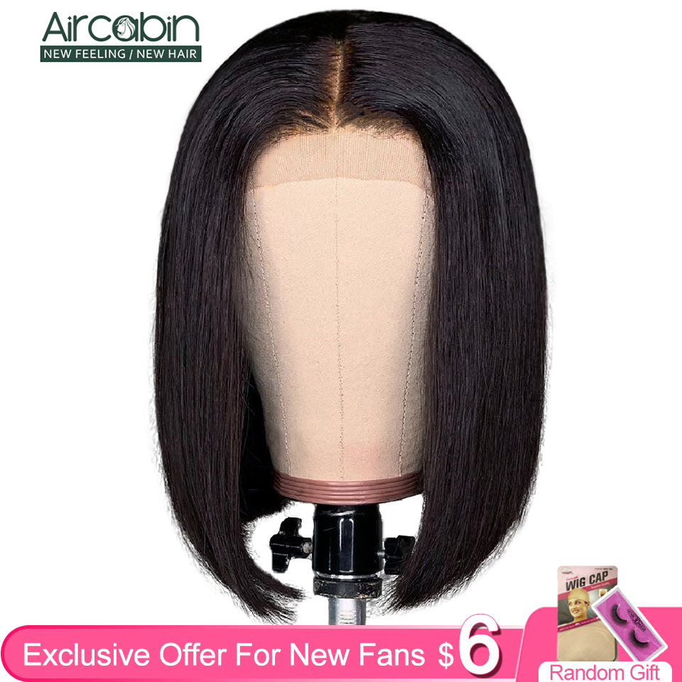 Aircabin Glueless 4x4 Lace Closure Wig Brazilian Human Hair 8