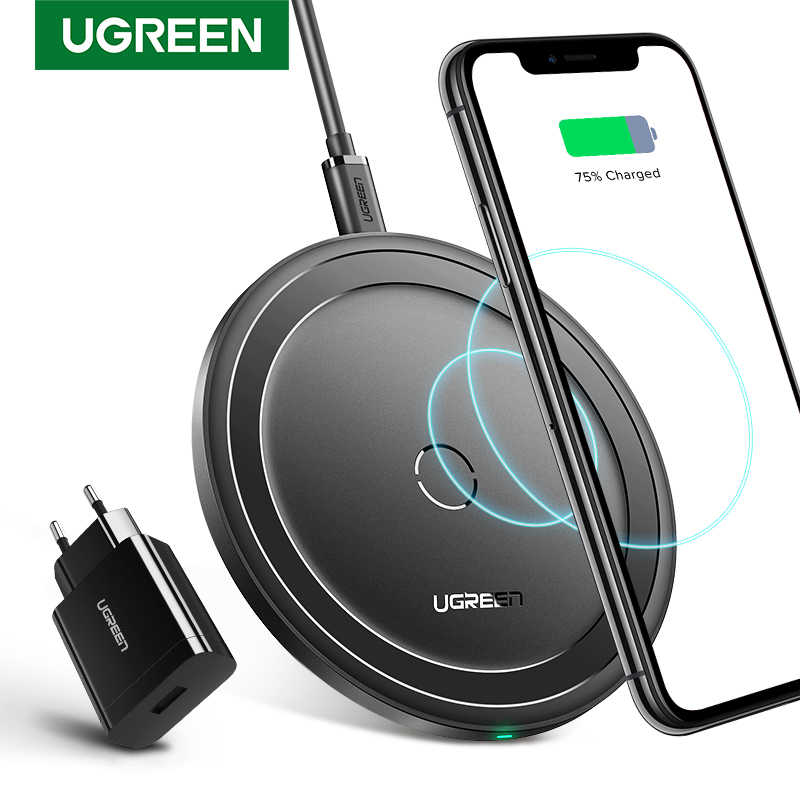 Ugreen Wireless ChargerสำหรับiPhone 11X8 XS XR 10W Qi Wireless Charging Pad QC 3.0 สำหรับSamsung s9 หมายเหตุ 9 Fast Wireless Charger