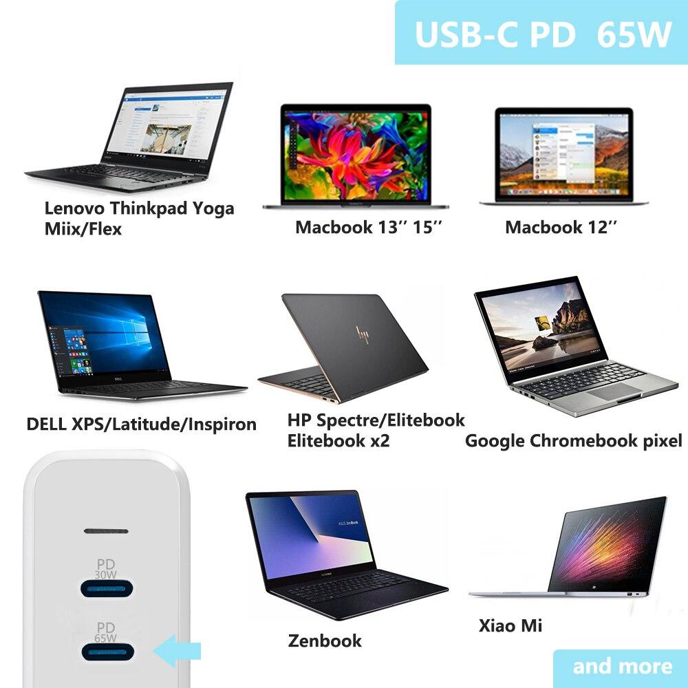 USB C 65W + 30W & 2 USB A port Reise Ladegerät Adapter mit Typ C PD Für Macbook xiaoMi HP Dell XPS iPhone 11 pro und mehr - 4
