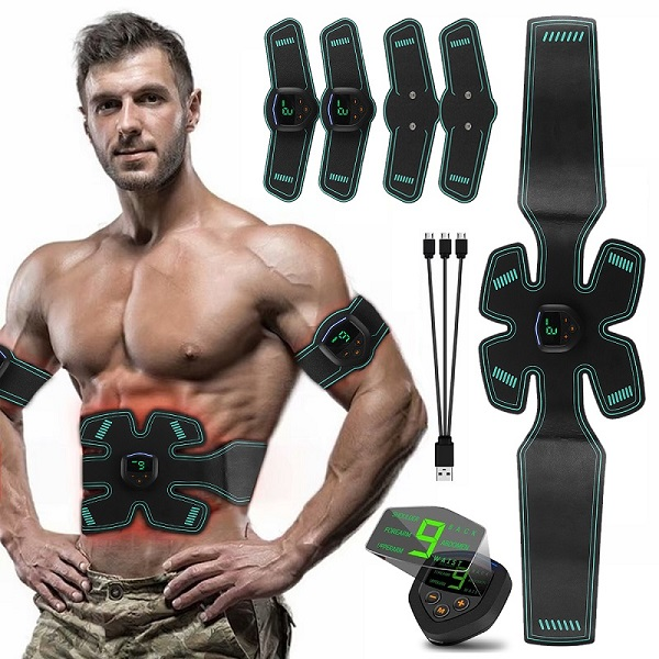 USB Rechargeable Electric Abdominal Muscle Stimulator Slimming Massage Unisex Trainer EMS Exercise LCD Muscle Body Training Gear