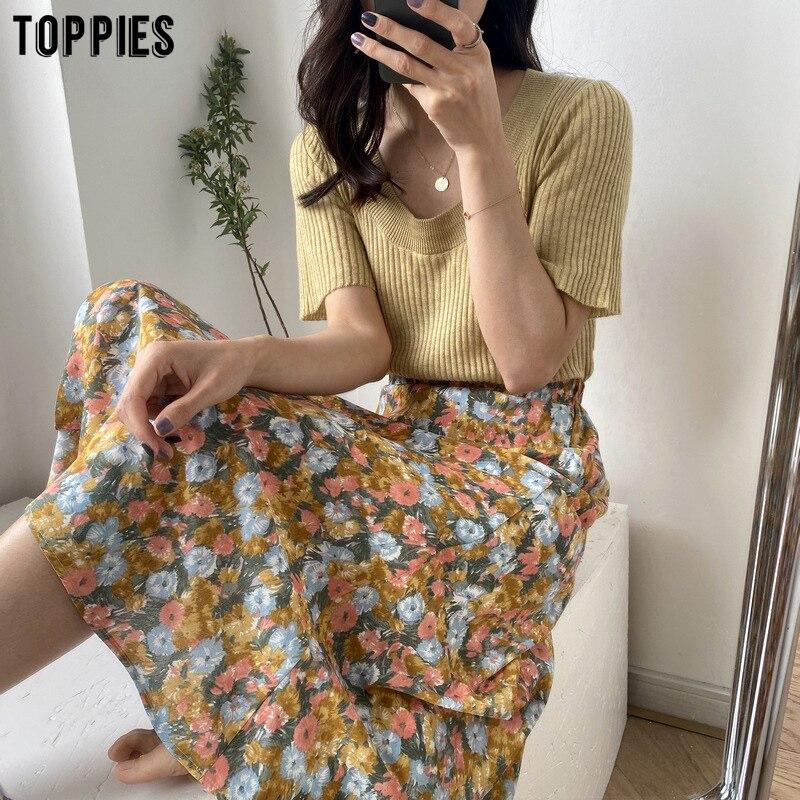 2020 Summer Oil Painting Print Skirts High Waist A-line Chiffon Skirts Womens Korean Fashion Clothes