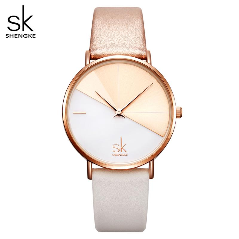 Shengke Women\'s Watches Fashion Leather Wrist Watch Vintage Ladies Watch Irregular Clock Mujer Bayan Kol Saati Montre Feminino