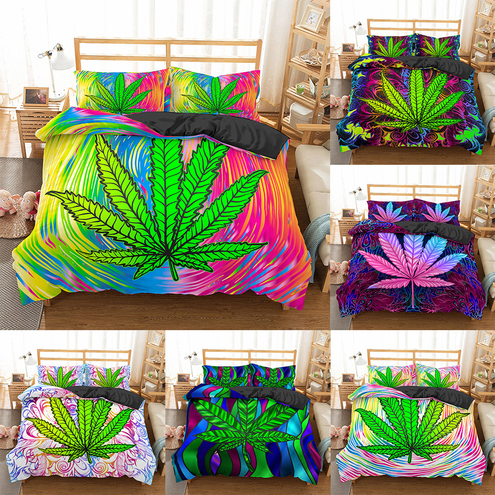 Homesky New Arrival Weed Leaves Bedding Set 100% Microfiber Bedding Set Queen King Size Quilt Cover Pillowcase Bed Cover