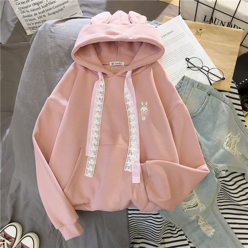 Women Winter Hoody Sweatshirt Embroidery Kawaii Dancing Rabbit Harajuku Lady Pullover Loose Student Wild Long Sleeve Female Tops