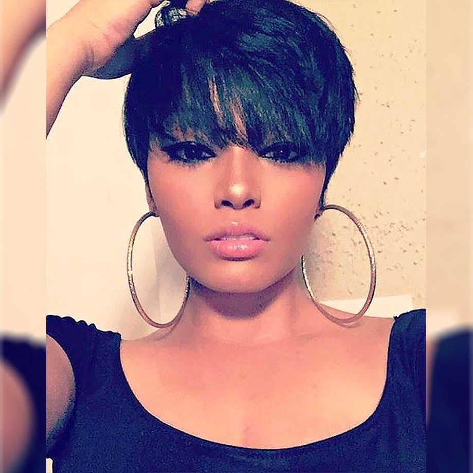 """Pixie Cut Pruik Braziliaanse Steil Haar 8 """"Inch Natuurlijke Zwarte Kleur Korte Volledige Machine Menselijk Haar Pruiken Voor Zwarte vrouwen Piaoyi Haar"""