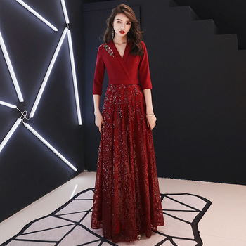 2020 New Embroidery Qipao Sexy V-neck Lady Evening Party Dress Sequins Mesh Dresses Noble Cheongsam Bling Robe De Soiree