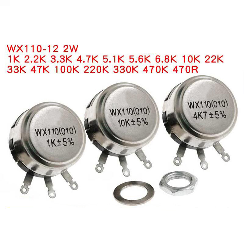 2 pièces WX110 (010) 6mm Rond En Métal Arbre Simple Tour Fil résistance Potentiomètre Bobiné 1k 2.2k 3.3k 4.7K 5.6k 6.8k 10k 22k ohm