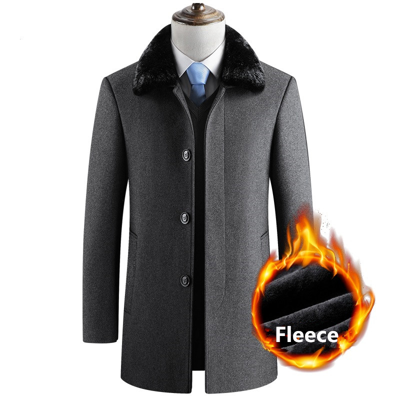 Winter Long Wool Coat Men Thick Warm Fleece Jackets Casual Slim Fit Fur Collar Peacoat Windbreaker Jacket Overcoat Woolen Trench