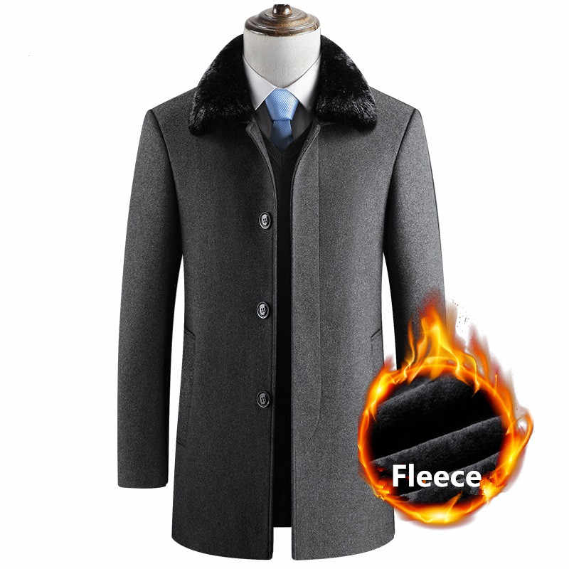 Men/'s Wool Jacket Fur Lapel Coat Slim Fit Overcoat Winter Warm Pocket Peacoat