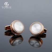 TOMYE Rectangular Classic Pattern Sleeve Button Business French Shirt Three-Dimensional Rose Gold Jewelry XK18S376
