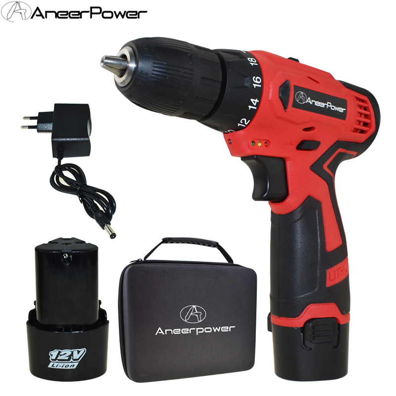 Double Speed 12v Cordless Drill Battery Drill Mini Power Tools Electric Screwdriver Electric Drill Batteries Screwdriver Eu Plug