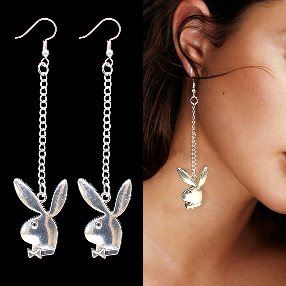 punk funny animals bunny dangle earring vintage hiphop rabbit head drop earrings for women girls gifts brincos para as mulheres