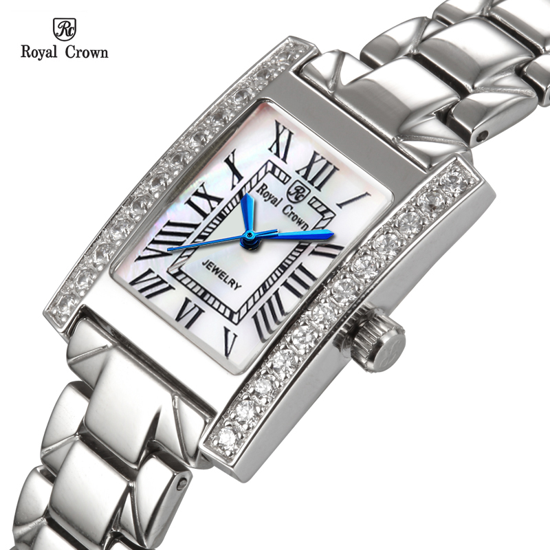 Luxury Prong Setting Women's Watch Fine Fashion Hours Mother-of-pearl Bracelet Rhinestone Crystal Girl's Gift Royal Crown Box