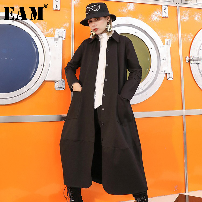 [EAM] Women Black Pocket Causal Long   Trench   New Lapel Long Sleeve Loose Fit Windbreaker Fashion Tide Autumn Winter 2019 1A948