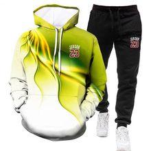 Fashionable Men's Rand 3D Printing Sportswear Hoodie + Casual Warm Sports Pants