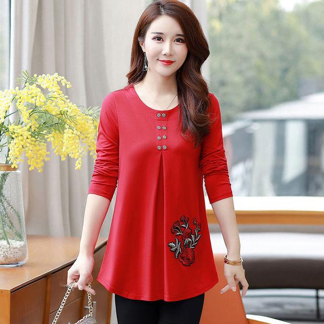 New Women's Spring Autumn Style Blouse Shirts Women's O-Neck Loose Button Embroidery Long Sleeve Temperament Casual Tops DD8332 6