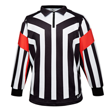 HAN DUCK HRJ Series Ice Hockey Long Sleeve Striped chief and Side Referee/Umpire Jersey Shirt