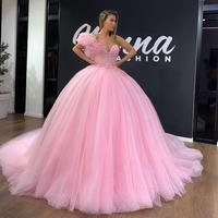 Sweetheart Pink Ball Gown Quinceanera Dresses with Beads Floral Appliques Tulle Prom Dress Custom Made Sweet 16 Gowns robes de s