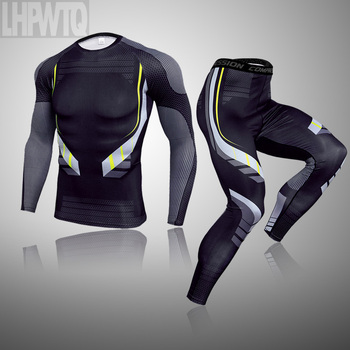 3-piece sets Compression Suits Men's Quick Dry set Clothes Sport Running MMA jogging Gym work out Fitness Tracksuit clothing 25